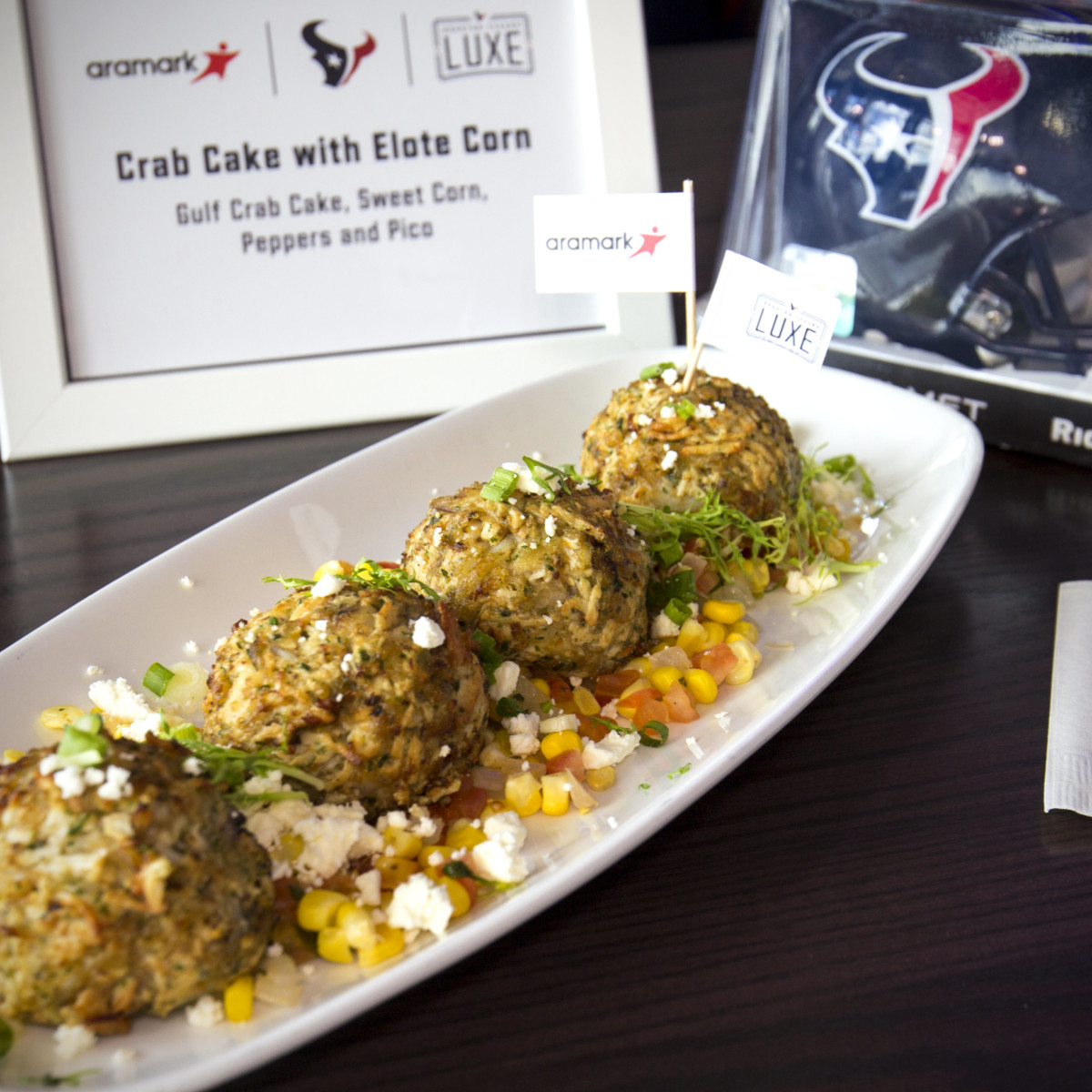 Houston Texans gameday menu Hoffman NRG Stadium crab cake elote corn