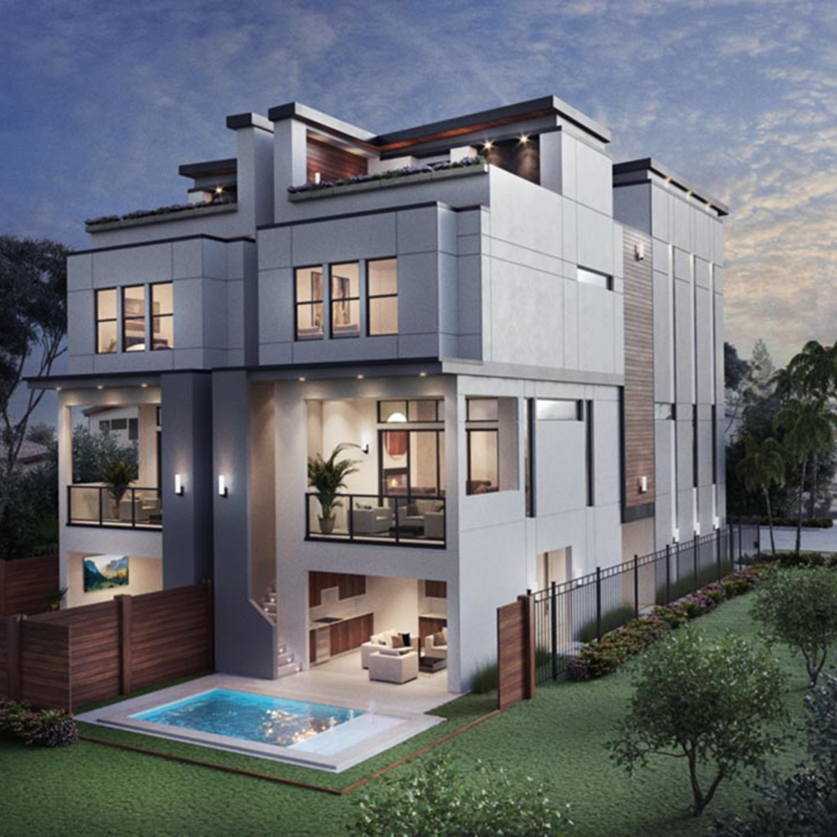 A contemporary single-family custom home under development by Preston Building Partners