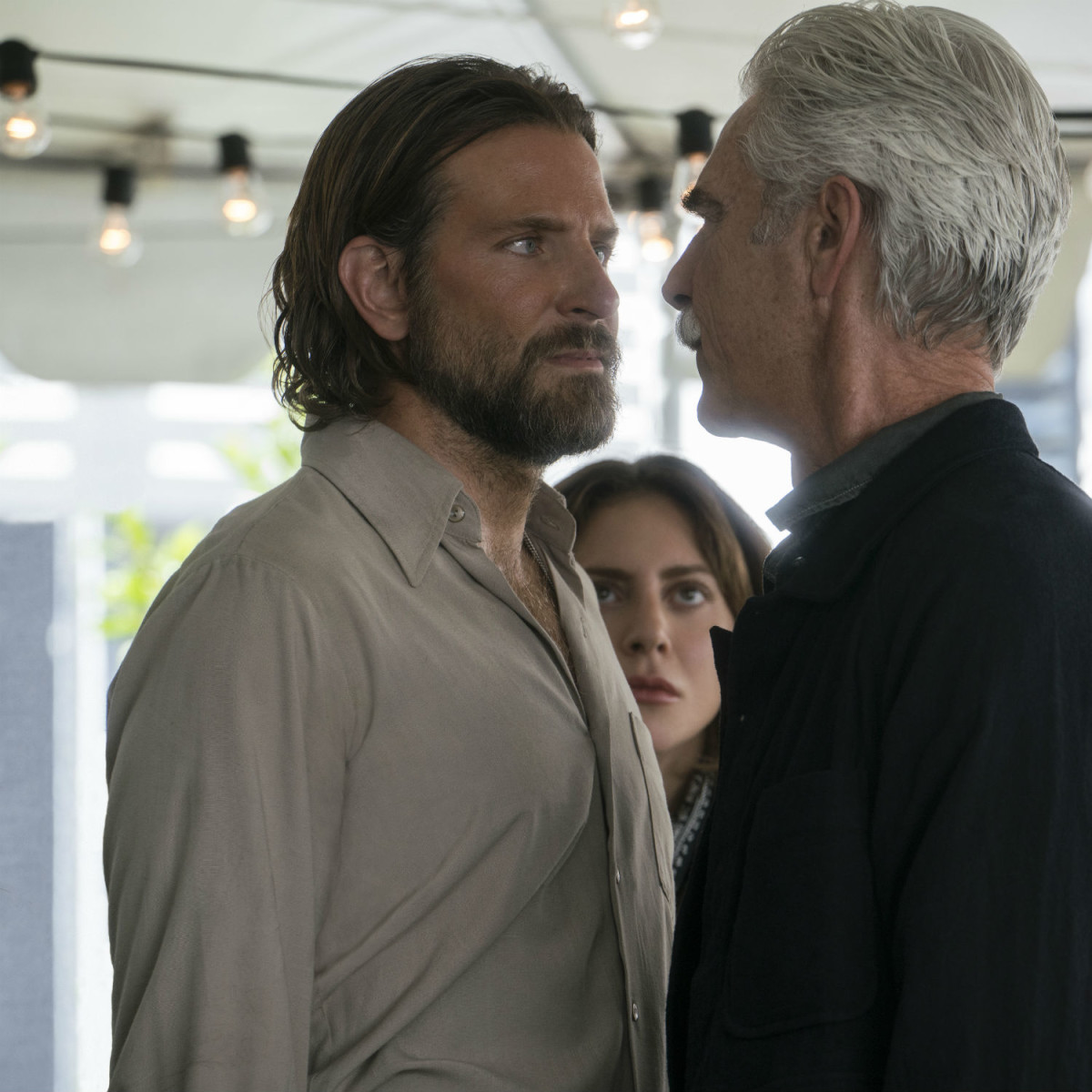 Bradley Cooper, Lady Gaga, and Sam Elliott in A Star is Born