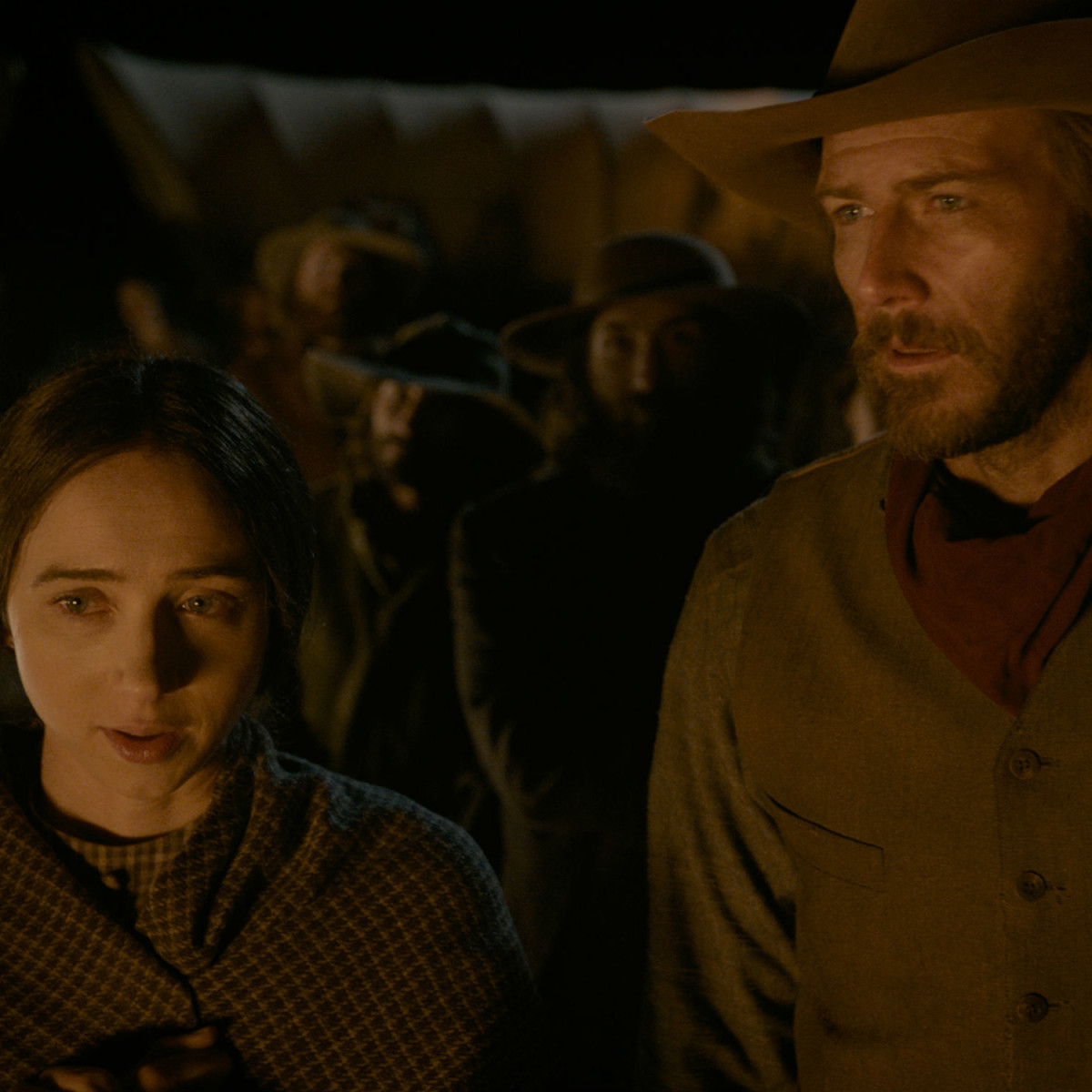 Zoe Kazan and Bill Heck in The Ballad of Buster Scruggs