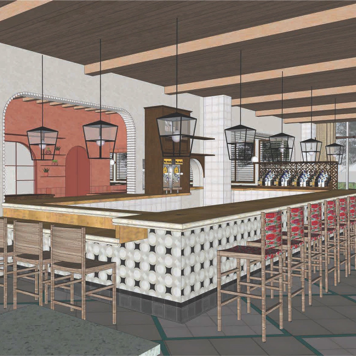 Original Ninfa's Uptown bar rendering