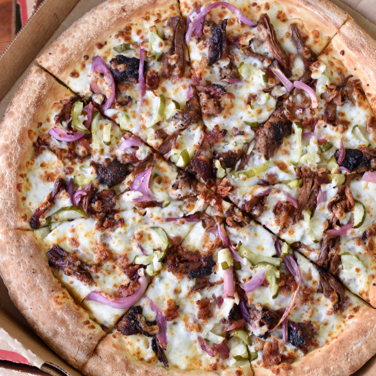 Papa John's Killen's barbecue brisket pizza