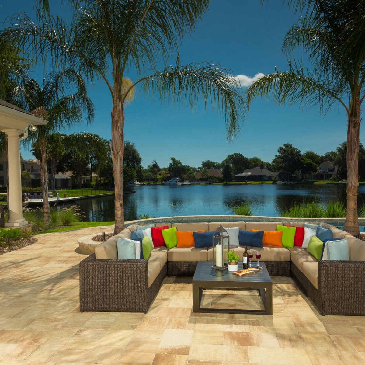 Patio furniture outside by pool