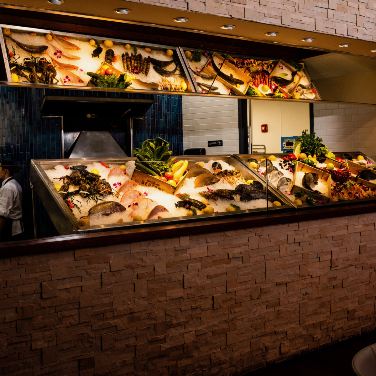 Ouzo Bay seafood display interior