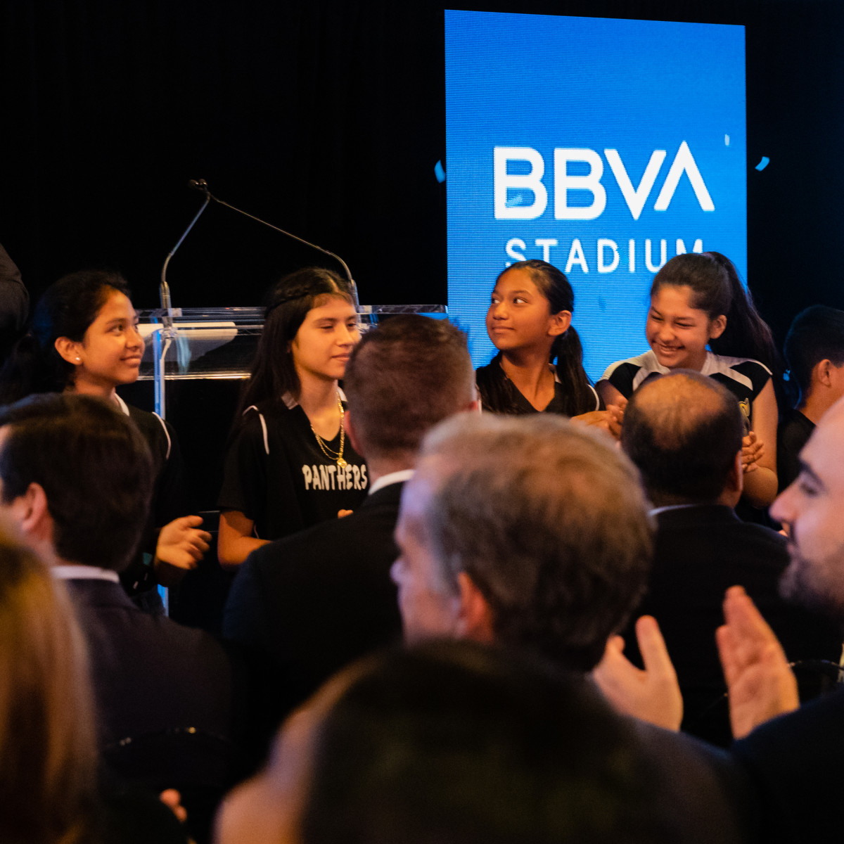 BBVA USA President and CEO Javier Rodriguez Soler officially announces the new BBVA Stadium name, with the help of Raul Yzaguirre Schools for Success Elite STEM Primary Academy soccer players