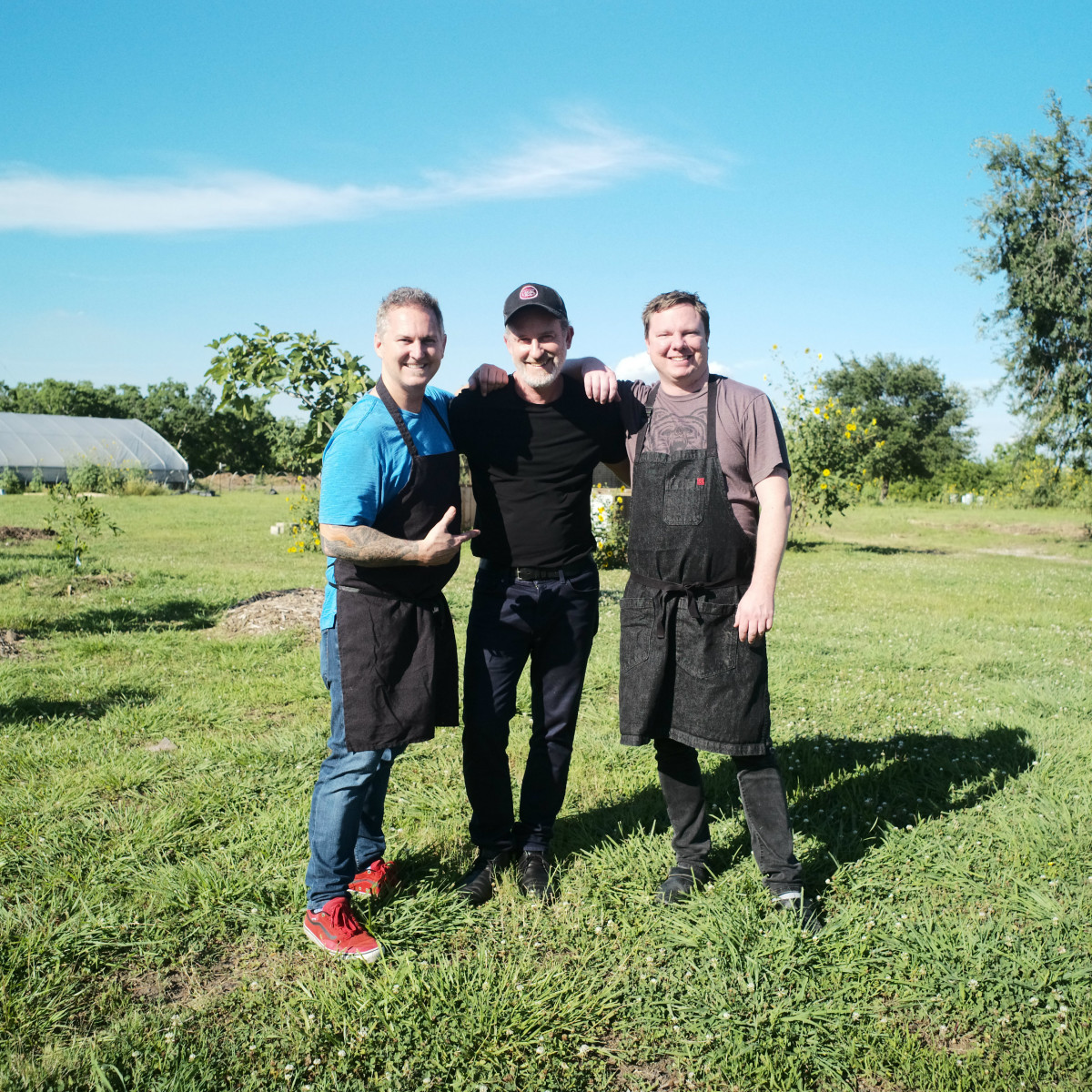 Chefs in the Field Hope Farms Summer 2019 Troy Guard (Guard & Grace), Dylan Murray (Local Foods & Benjy's), Ben McPherson (BOH Pasta & Pizza)