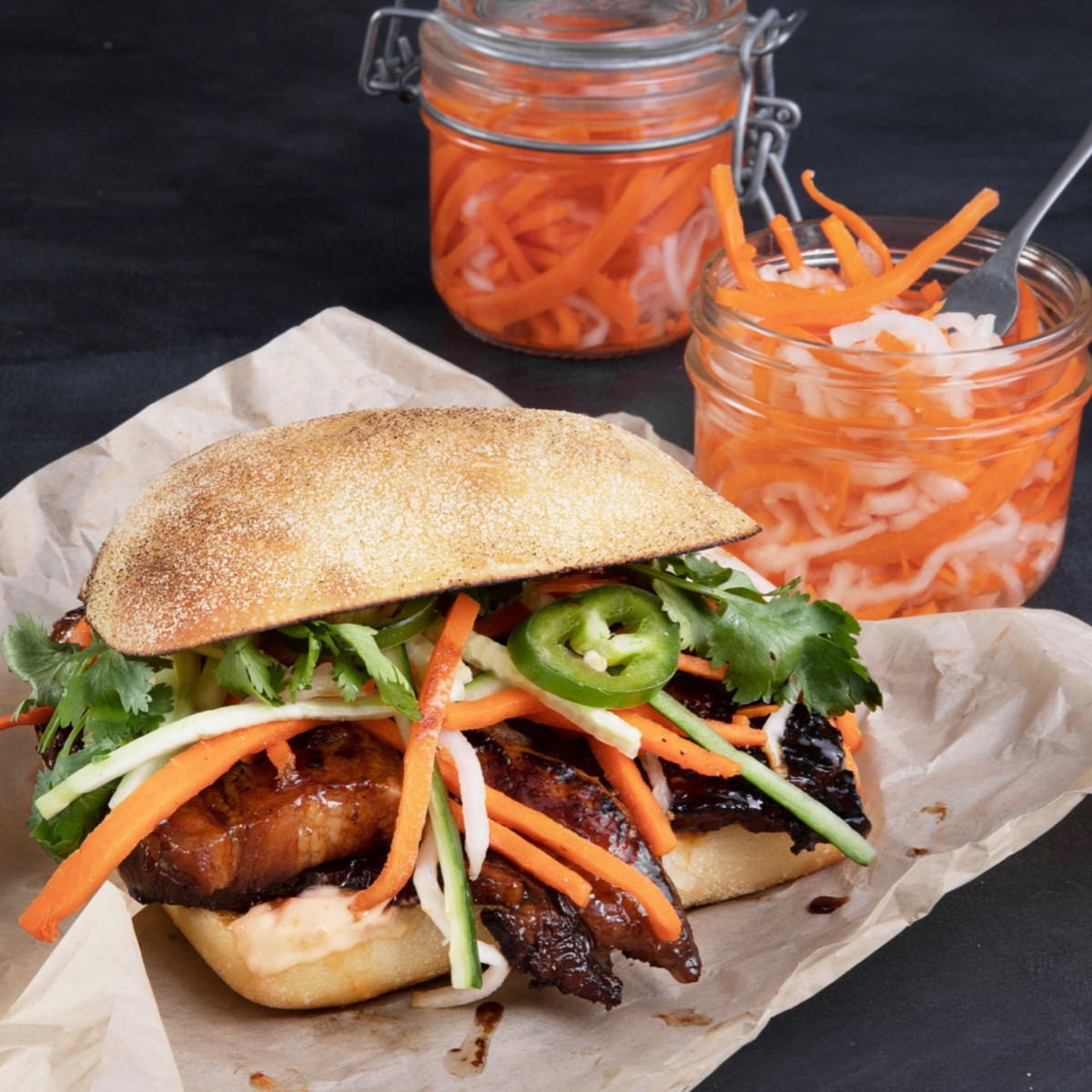 Mendocino Farms pork belly banh mi