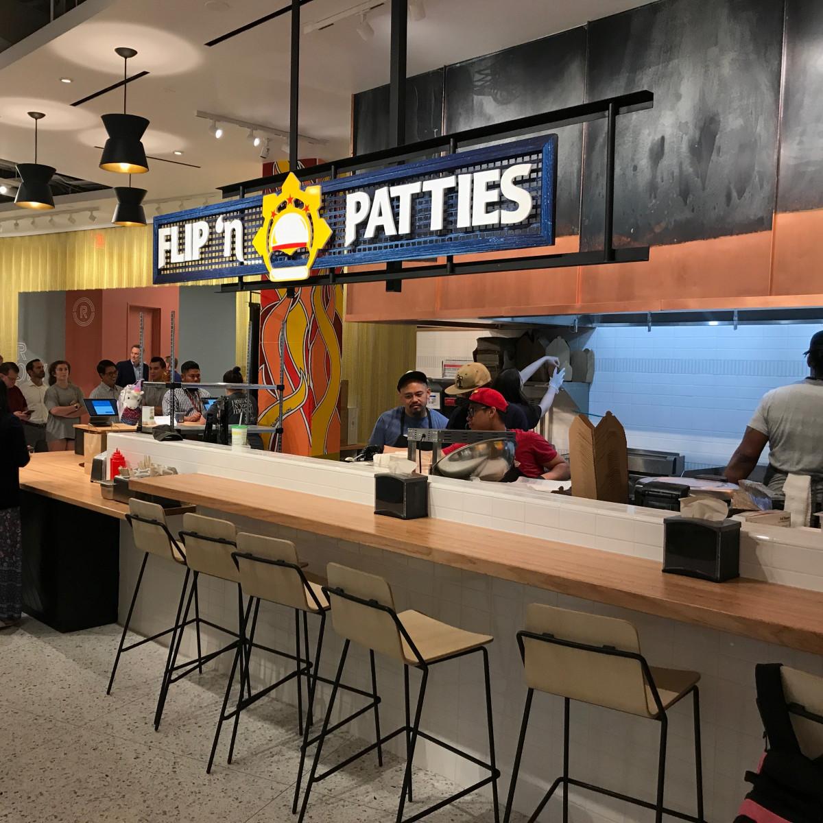 Understory food hall Flip n Patties stand