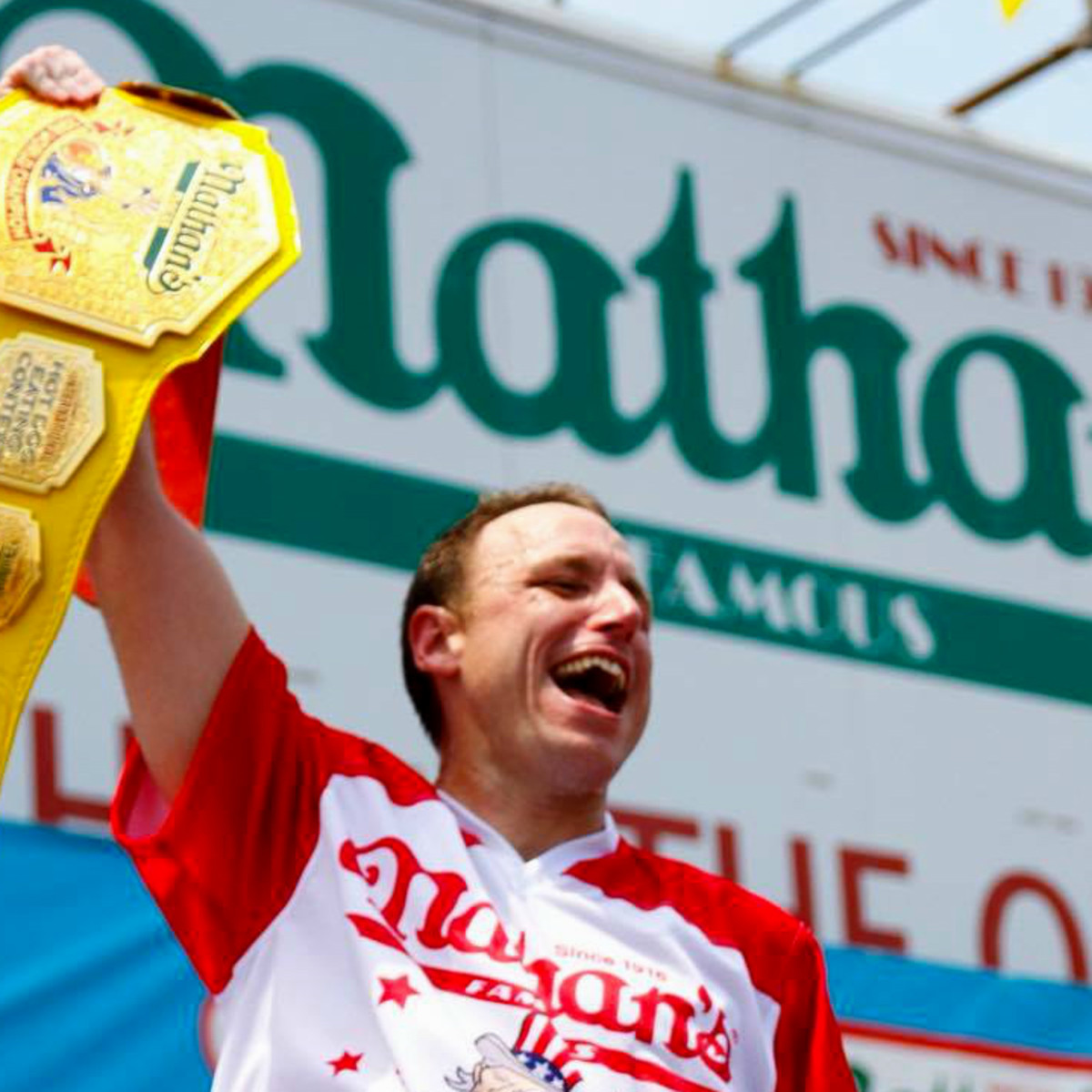 Joey Chestnut world champion mustard belt