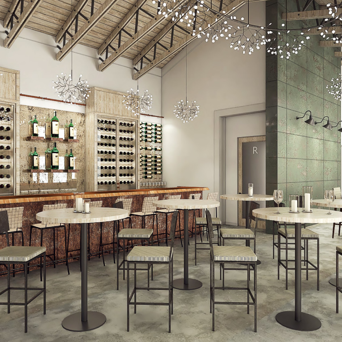 Mutiny Wine Room main bar rendering
