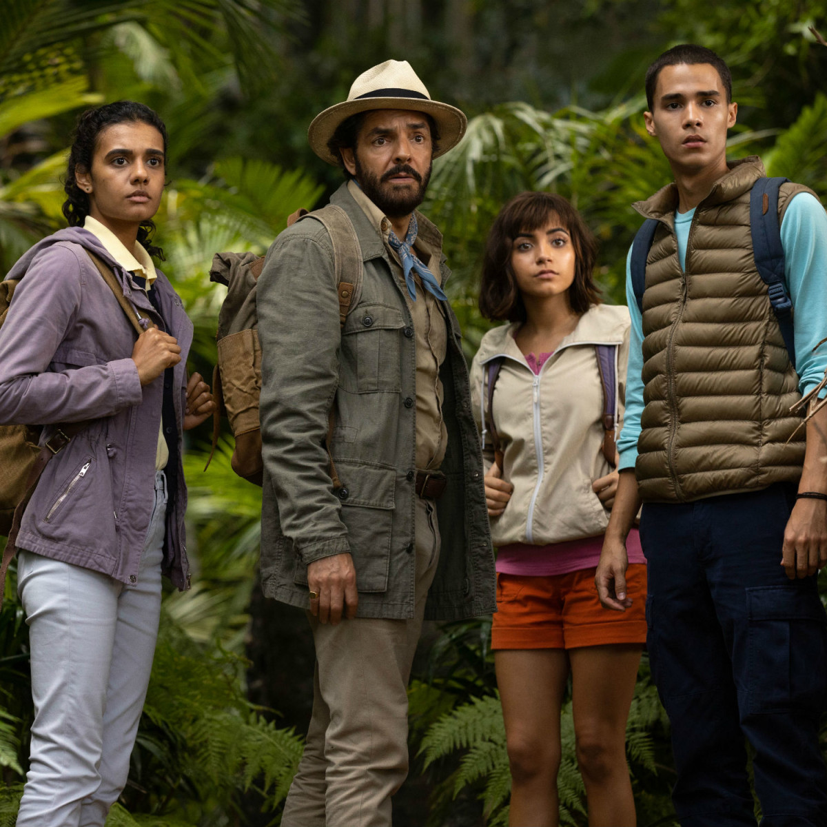 Madeleine Madden, Eugenio Derbez, Isabela Moner, and Jeff Wahlberg in Dora and the Lost City of Gold