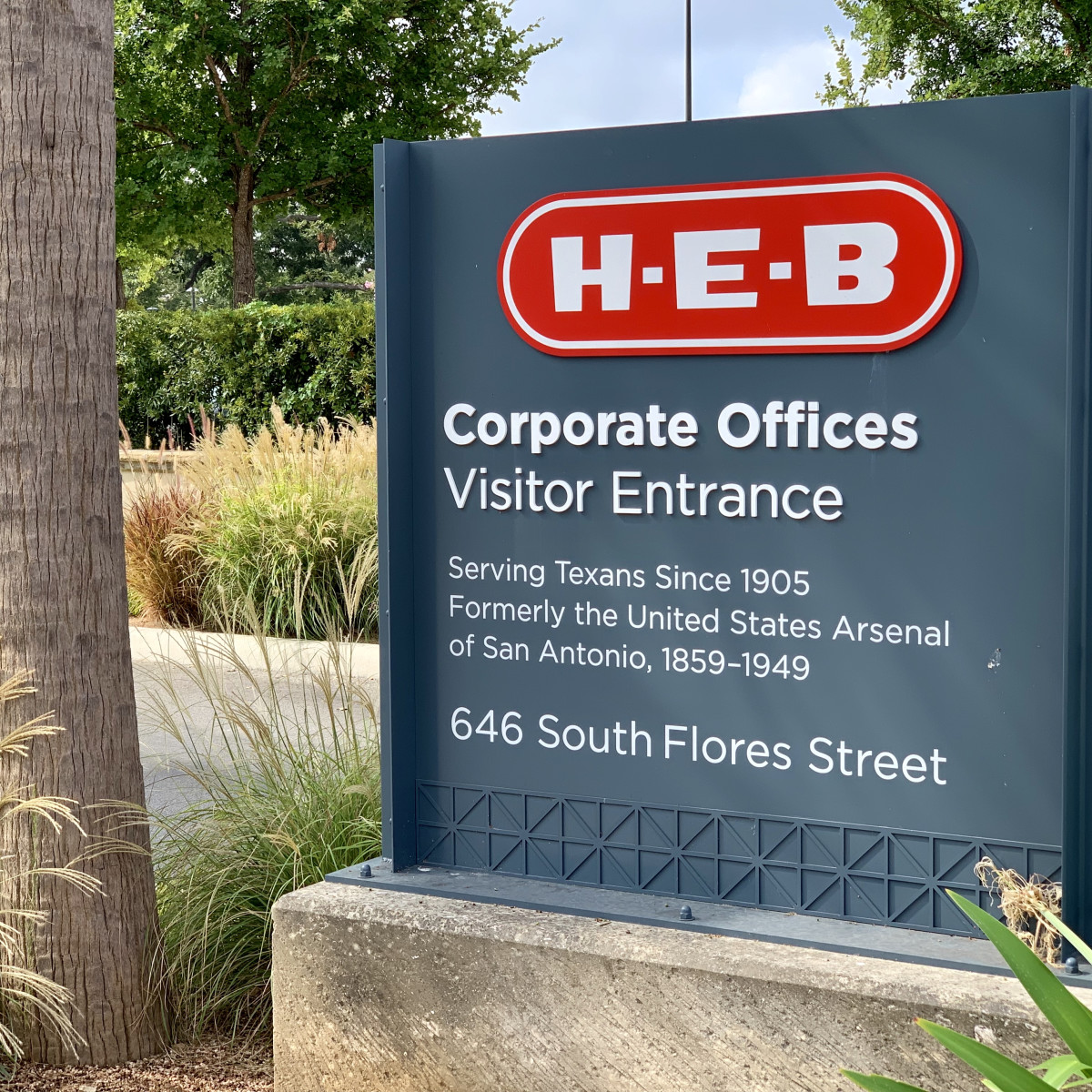 H-E-B logo sign corporate campus downtown san antonio arsenal