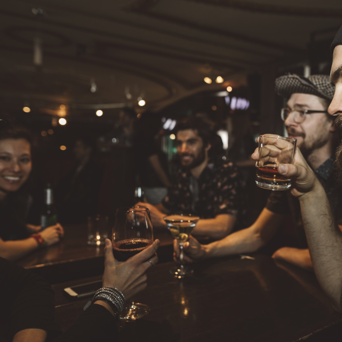 People drinking in a bar