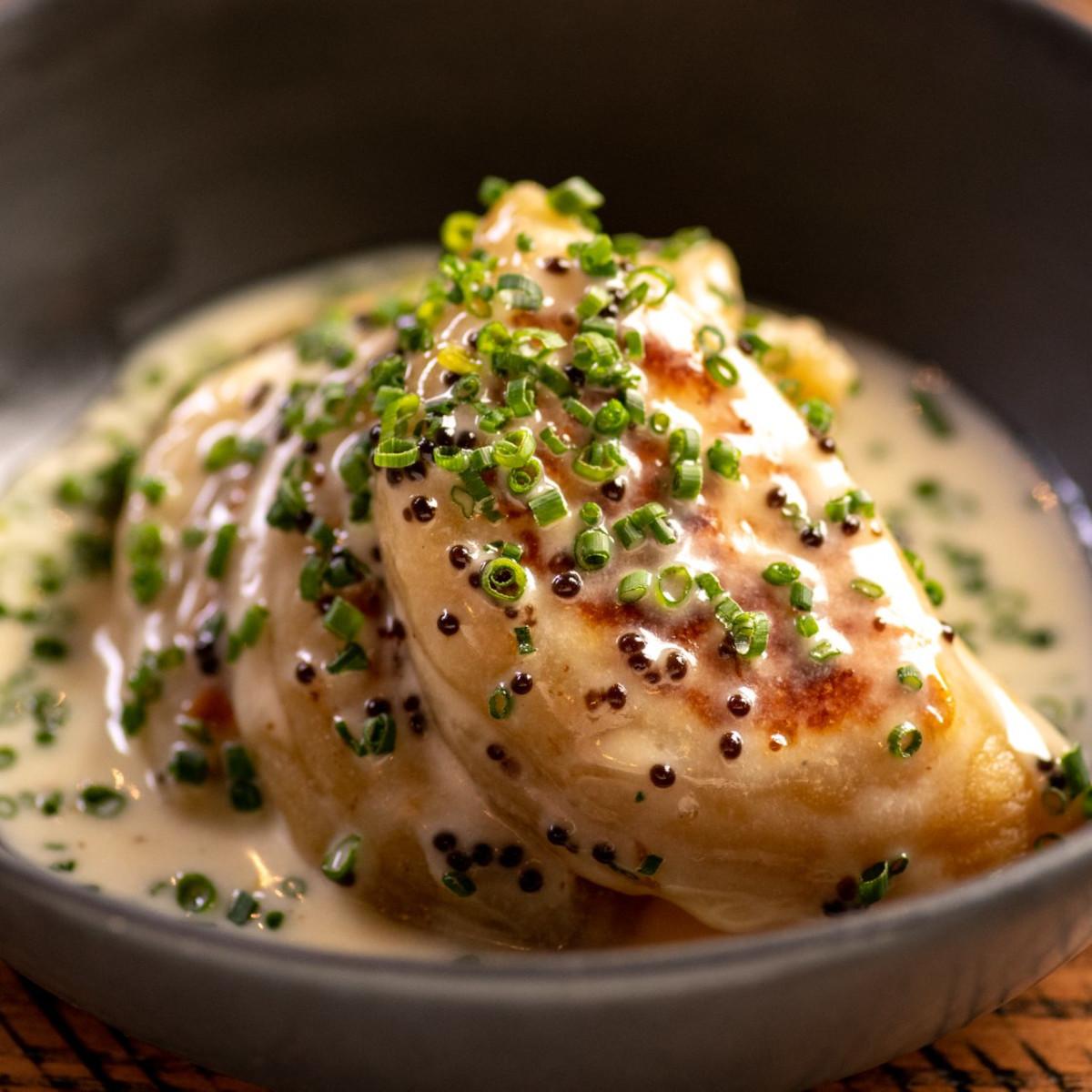 Riel restaurant potato leek truffle pierogi