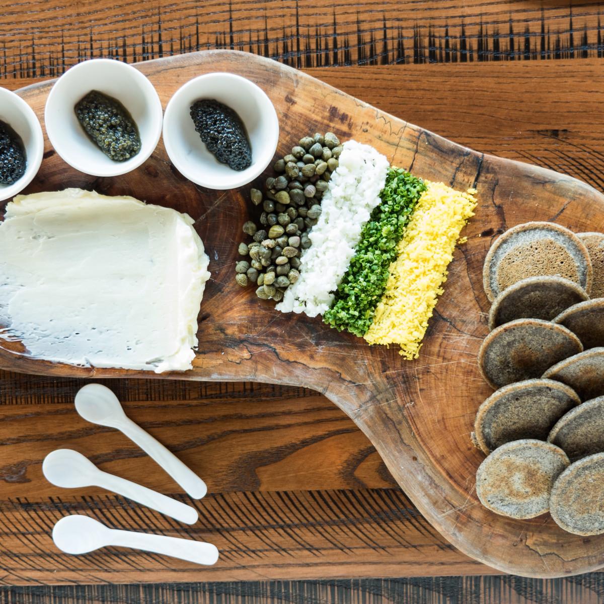 Riel restaurant caviar board