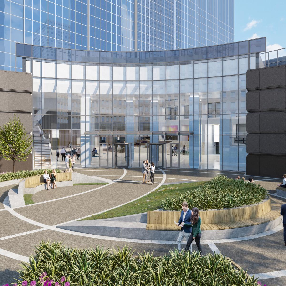 Houston downtown Heritage Plaza exterior entrance
