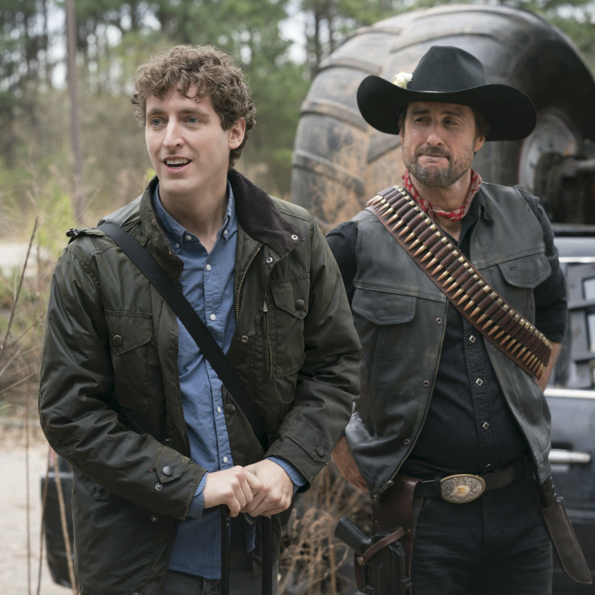 Thomas Middleditch and Luke Wilson in Zombieland: Double Tap