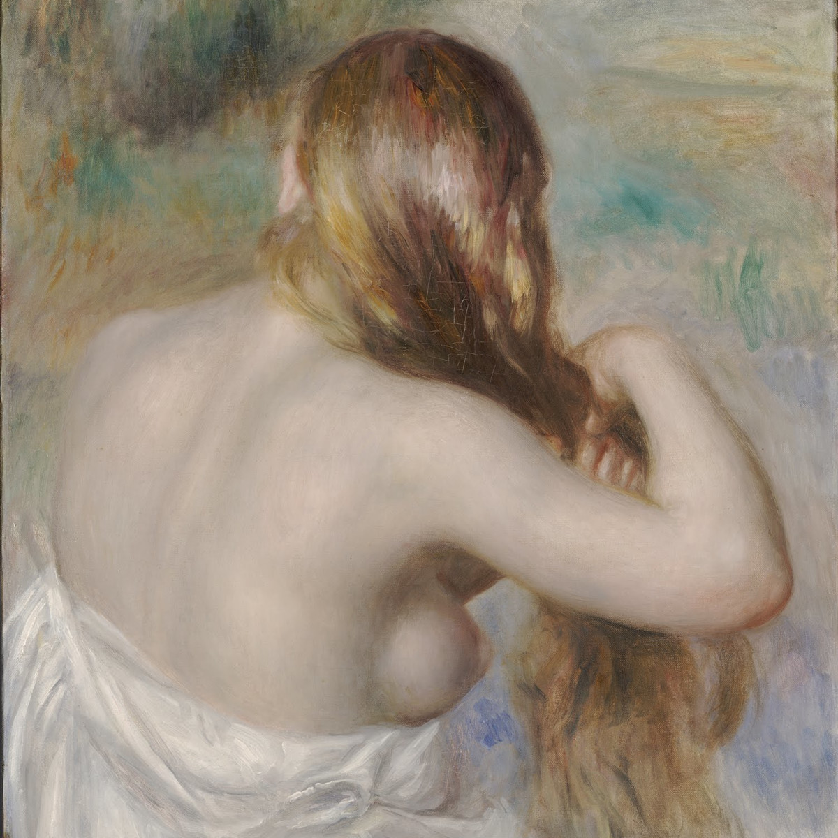 Renoir, Blonde Braiding her Hair