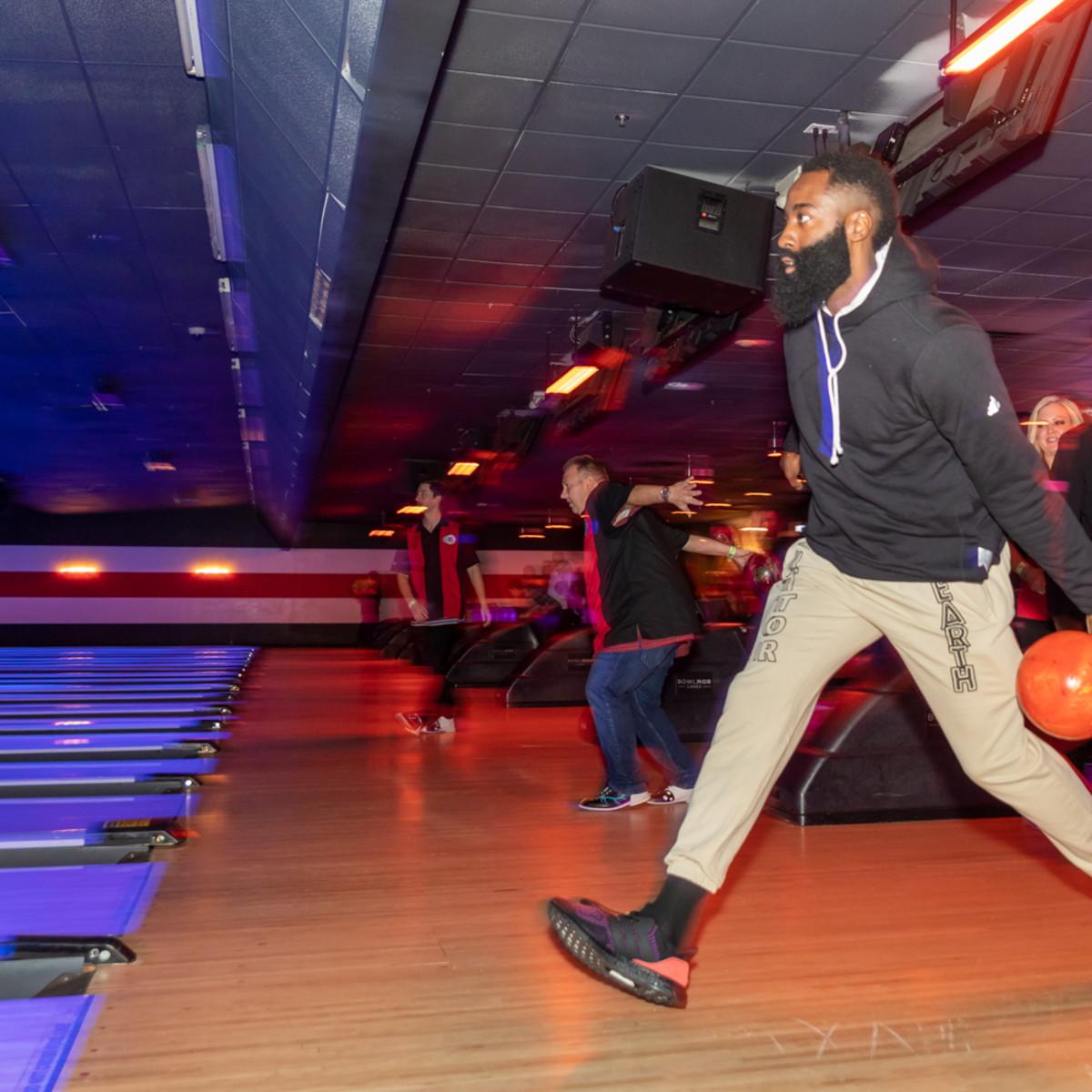 Clint Capela bowling bash 2019 James Harden bowling