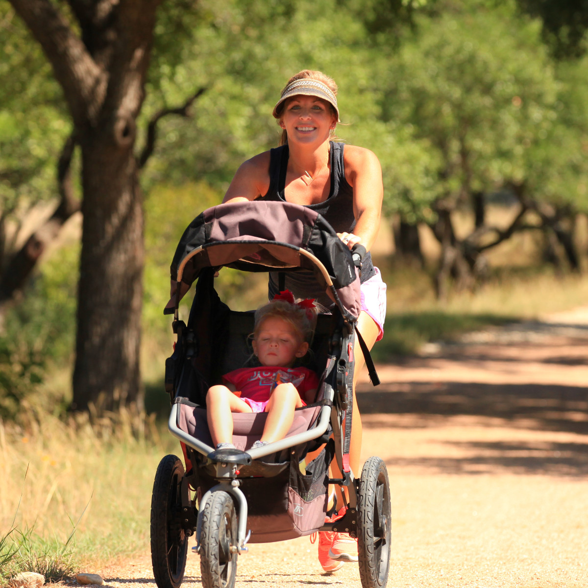 Mother and baby on hiking trails