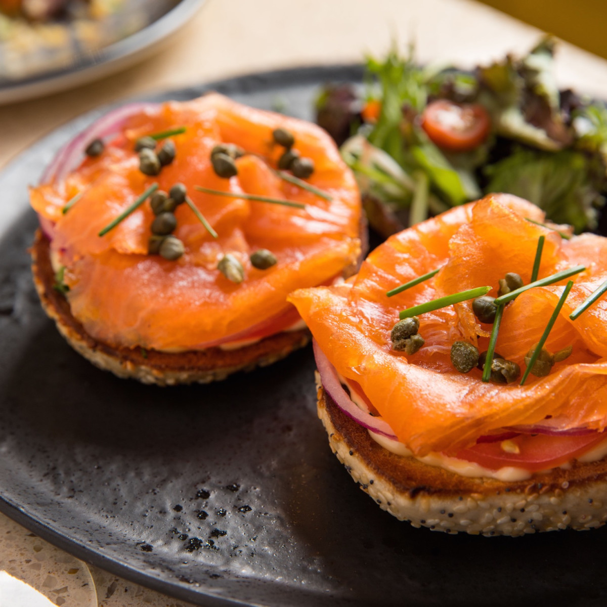 Benjy's brunch salmon bagel