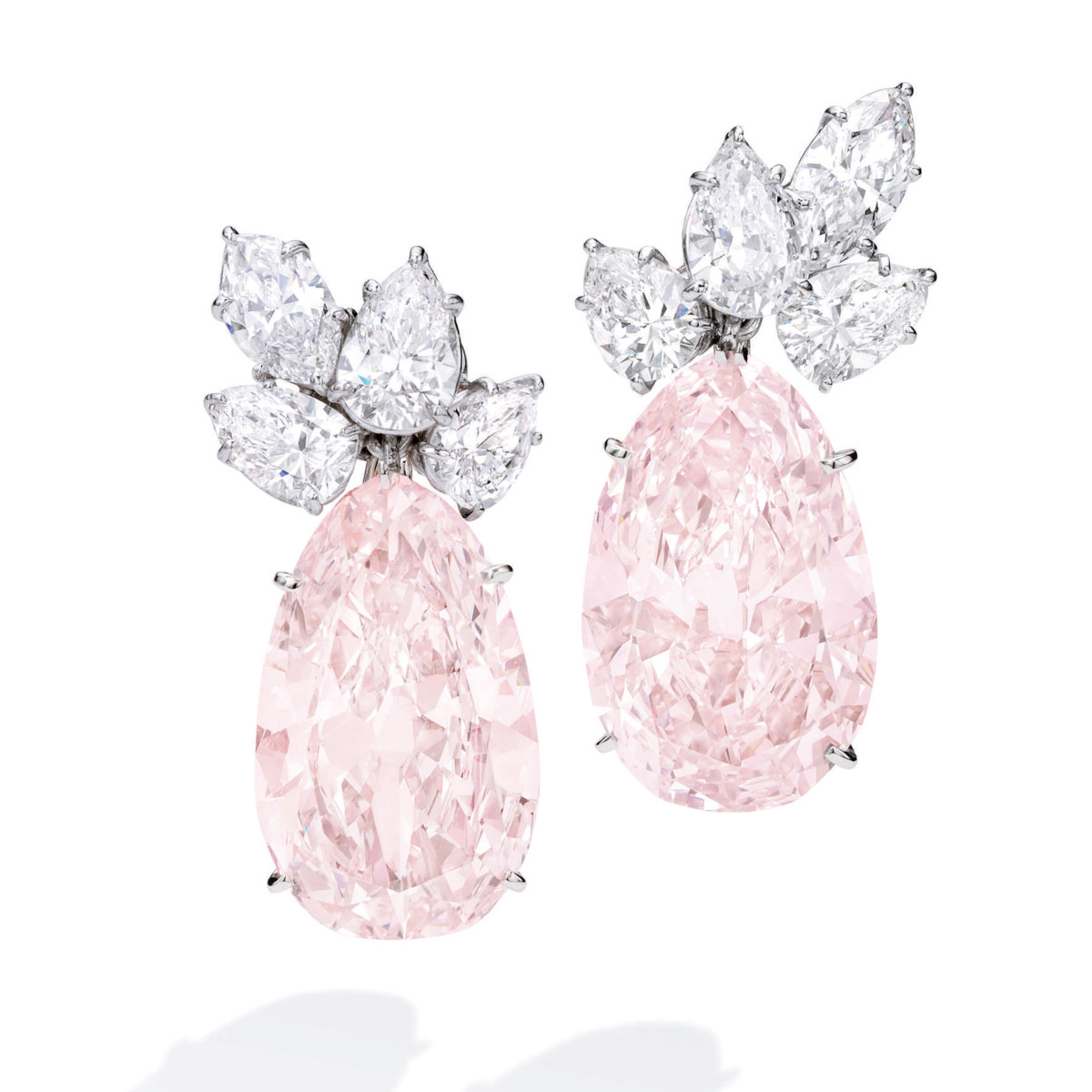Nenetta Carter's Light Brown Pink and Diamond Earclips, Harry Winston