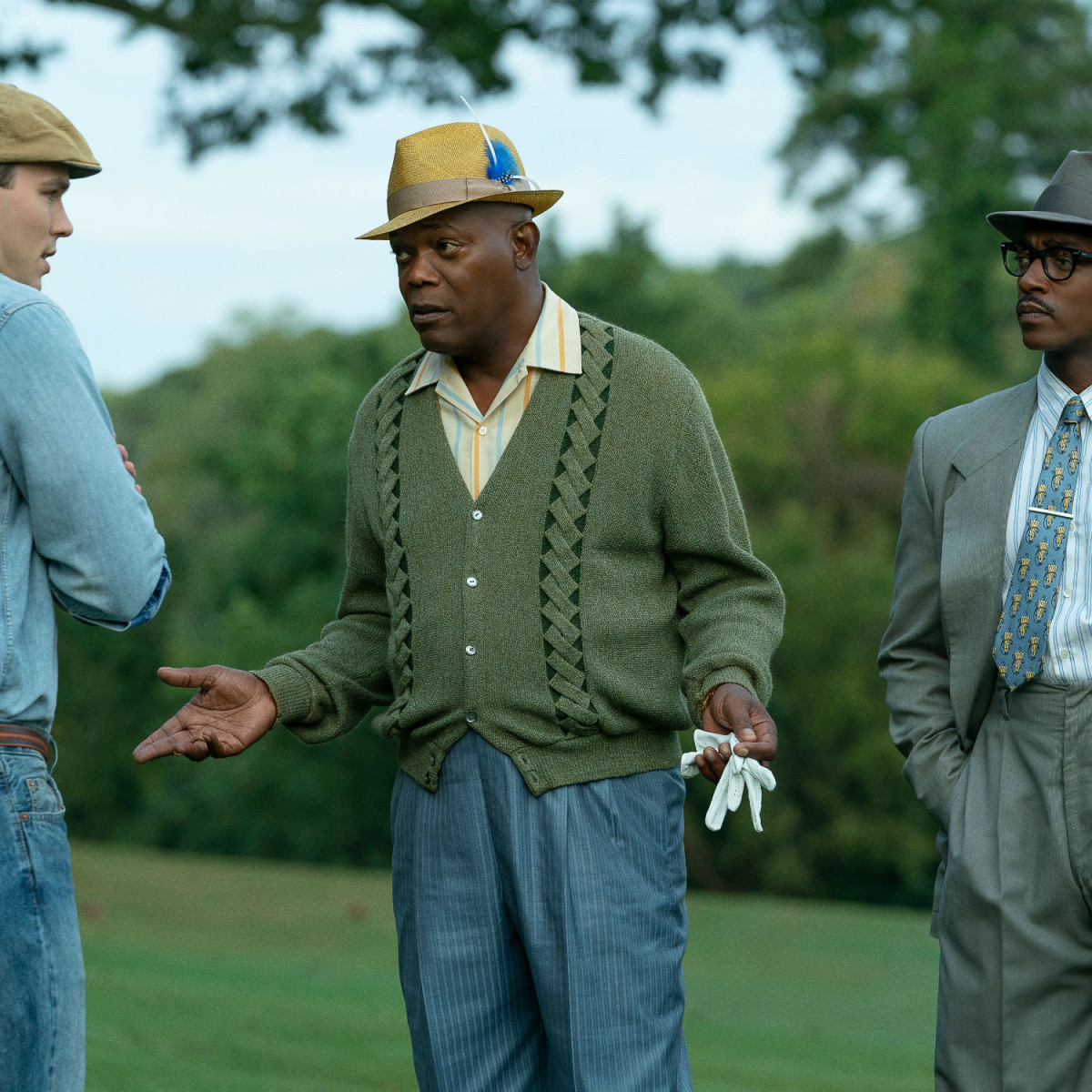 Nicholas Hoult, Samuel L. Jackson, and Anthony Mackie in The Banker