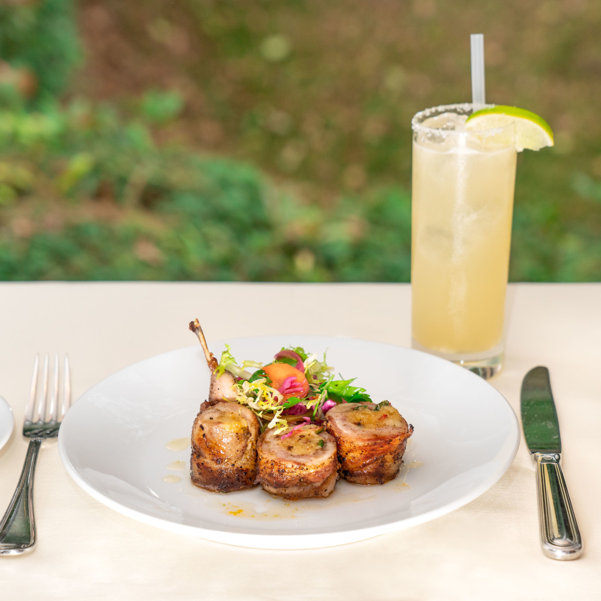 Bacon-wrapped quail at Tribute