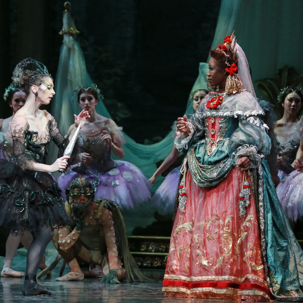 Houston Ballet principal Melody Mennite as Carabosse and former dancer Lauren Anderson as The Queen in Ben Stevenson's The Sleeping Beauty