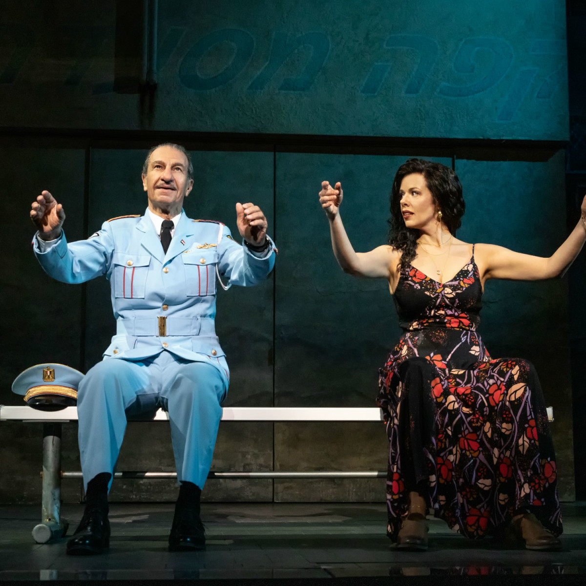 Sassoon Gabay and Janet Dacal in the national tour of The Band's Visit