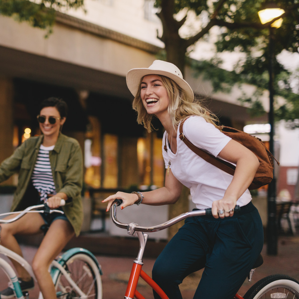 Two girls riding bikes