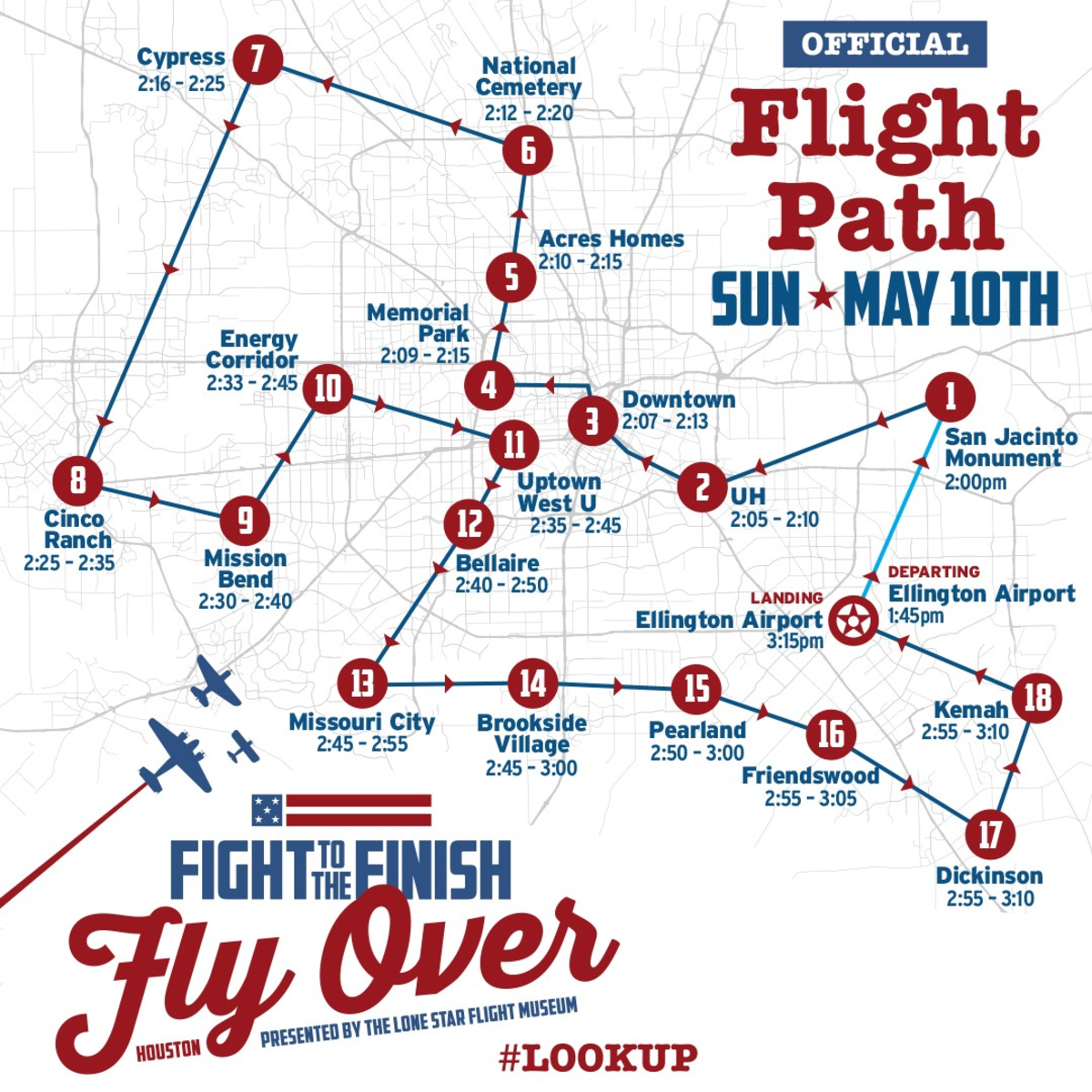 Lone Star Flight Museum Flyover WWII Houston flight path