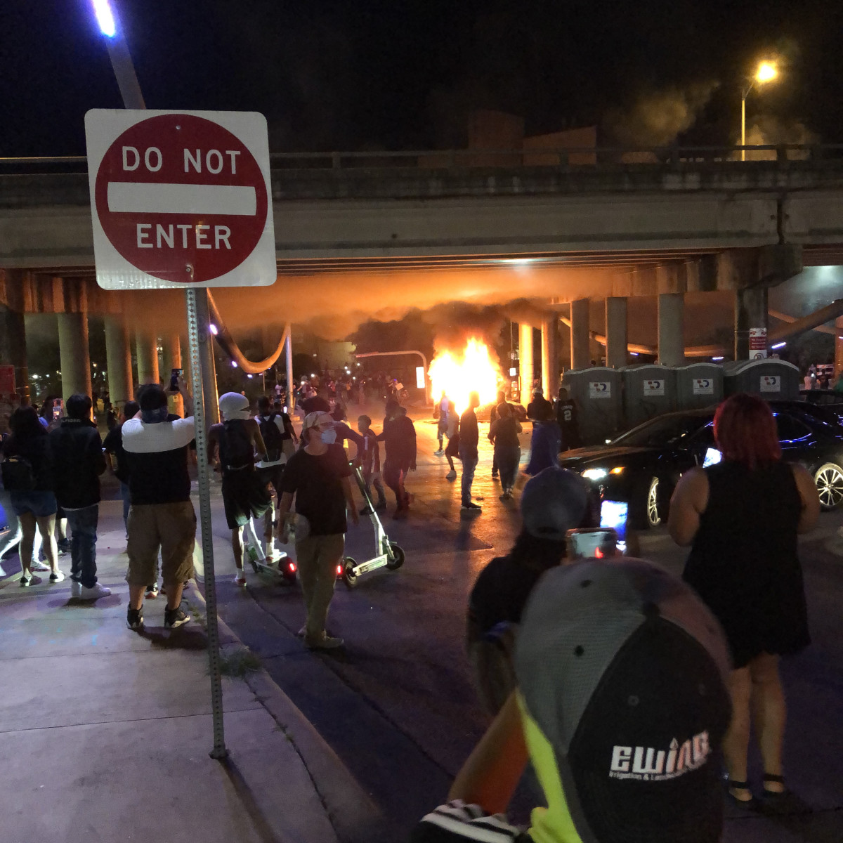 Austin protests Car on fire saturday night