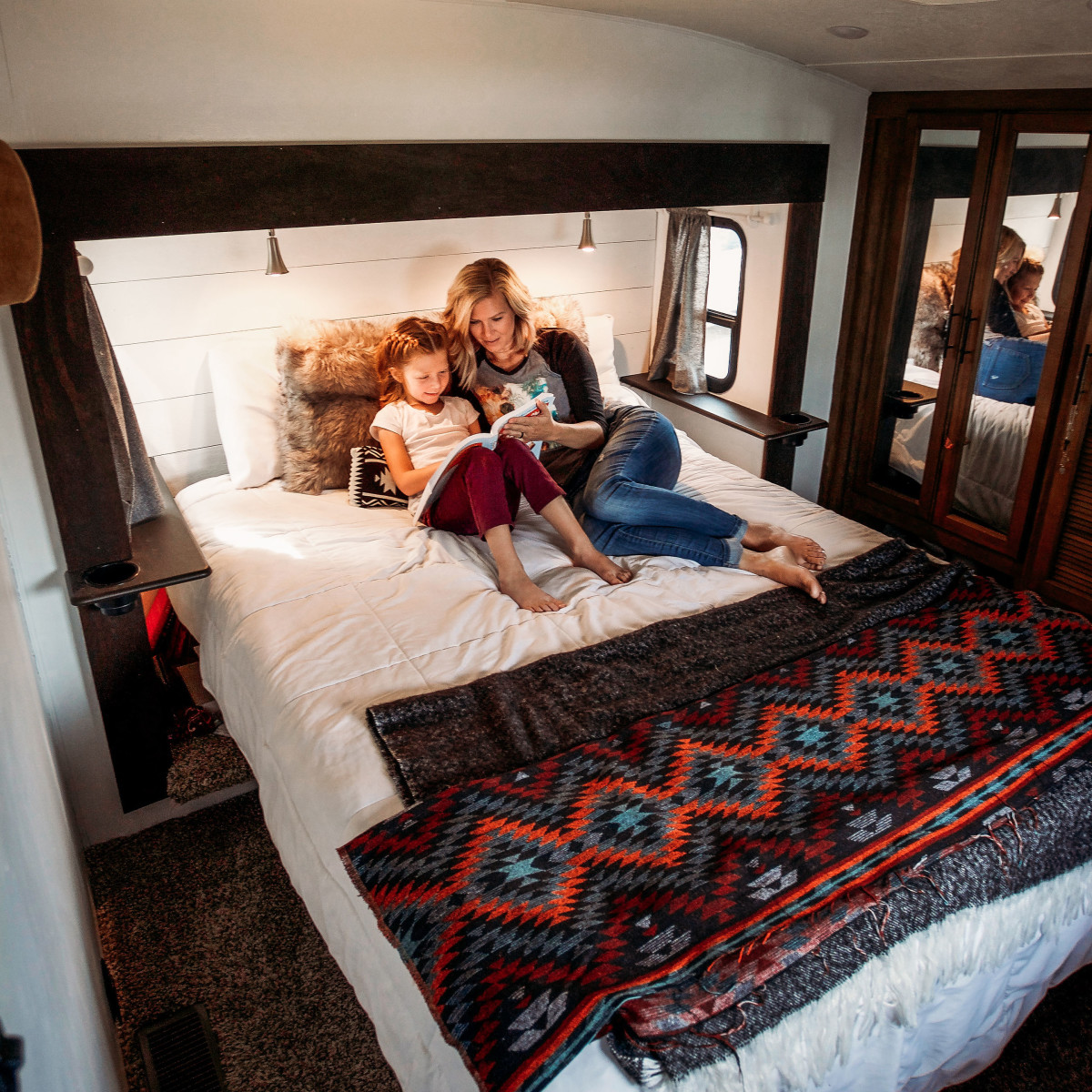 Mother and child inside RV
