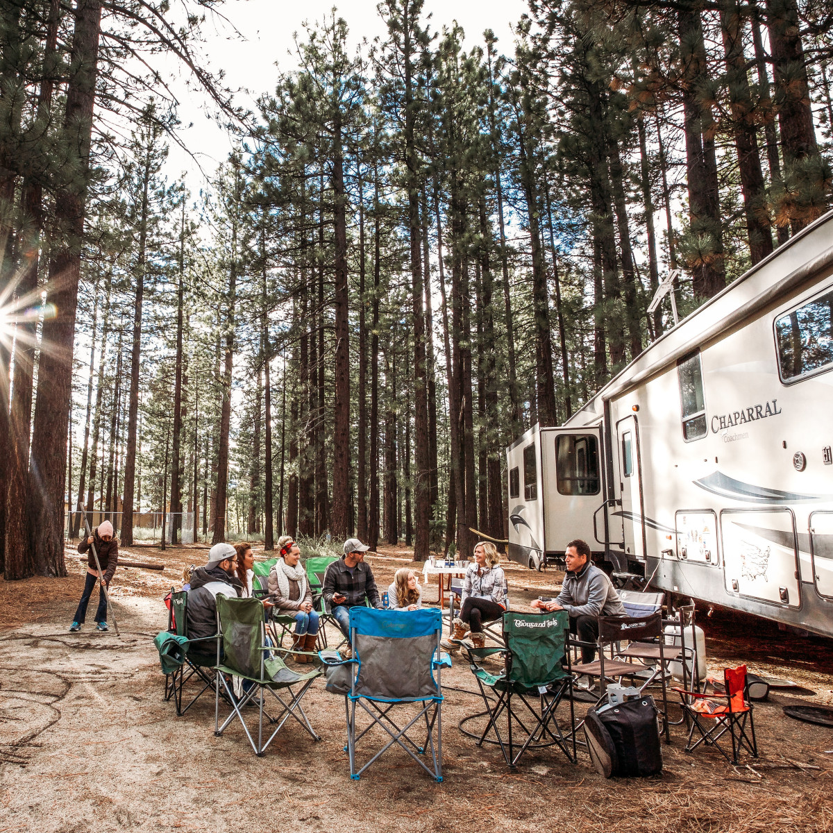 Large group camping with RV