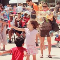 kids playing at Bubblepalooza at the long Center