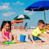 Galveston Stewart Beach kids playing in sand