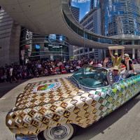 Art Car parade downtown fisheye
