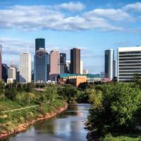 Houston park with skyline