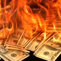 burning money 100 hundred dollar bills