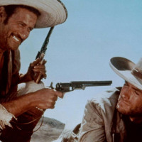 Eli Wallach with Clint Eastwood in The Good the bad and the ugly