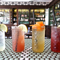 Rosewood, Pickpocket, Root Cola, Hibiscus Lemonade at Hillside Farmacy in Austin