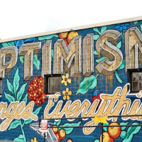 Frost Bank Opt for Optimism mural Austin