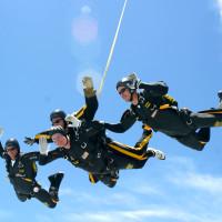 President George HW Bush skydive 80th birthday