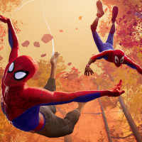 Spider-Man and Miles Morales in Spider-Man: Into the Spider-Verse