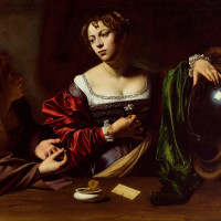 Michelangelo Merisi da Caravaggio, Martha and Mary Magdalene, c. 1598, oil and tempera on canvas