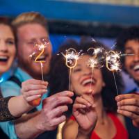 People celebrating New Year's Eve 2020