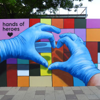 Hands of Heroes mural Discovery Green The Grove anat ronen