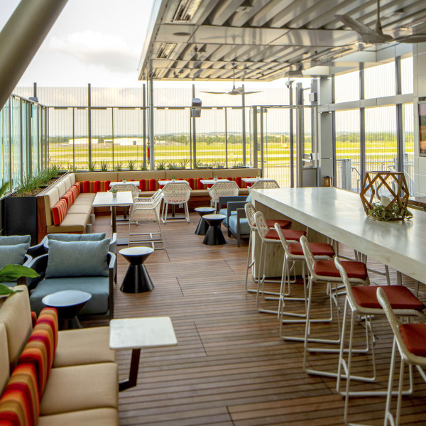 Austin airport lands outdoor patio and exclusive new bar and lounge