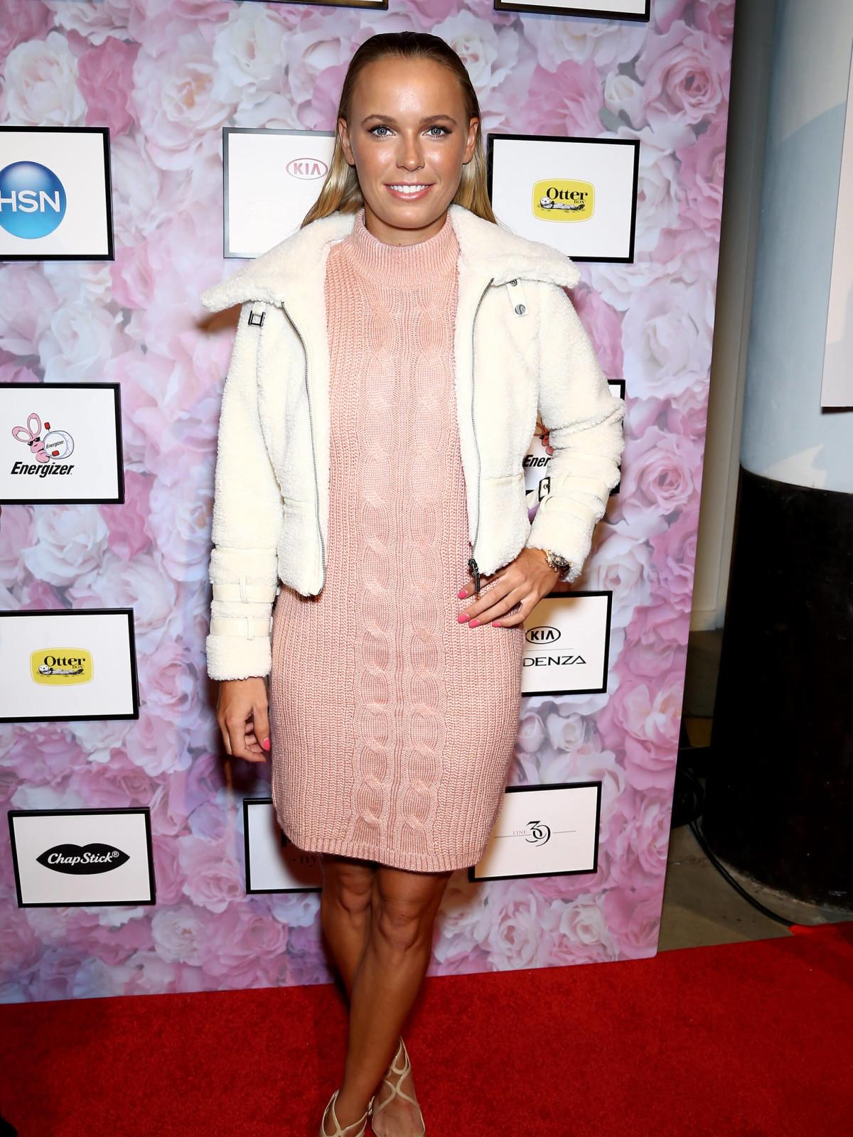 Caroline Wozniacki arrives as HSN Presents Serena Williams Signature Statement Collection Fashion Show